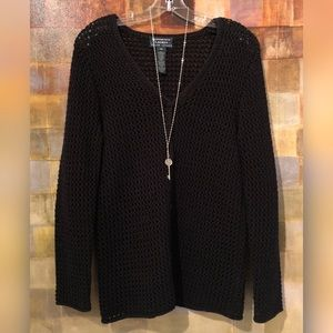 RALPH LAUREN Hand-Knit Cotton Black Cardigan MINT!